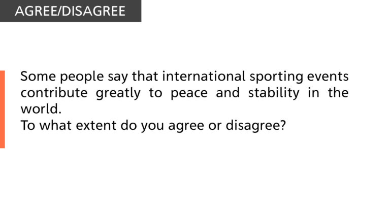 International sporting events contribute greatly to peace
