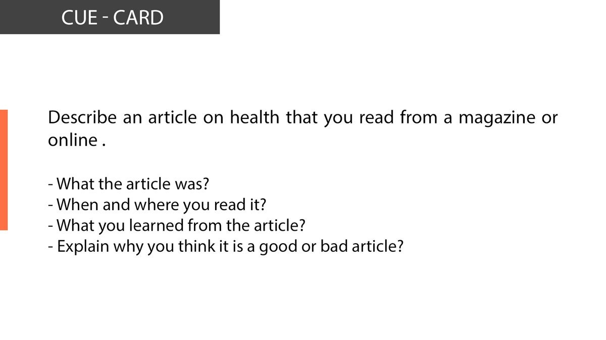 Ielts speaking Describe an article on health that you read from a magazine or online