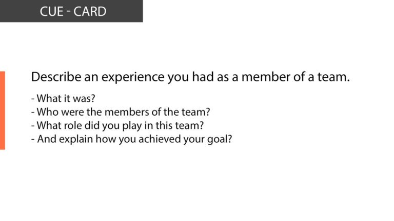 An experience you had as a member of a team