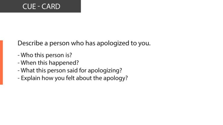Ielts speaking Describe a person who has apologized to you