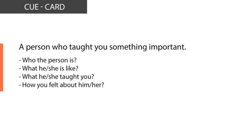IELTS Speaking A person who taught you something important
