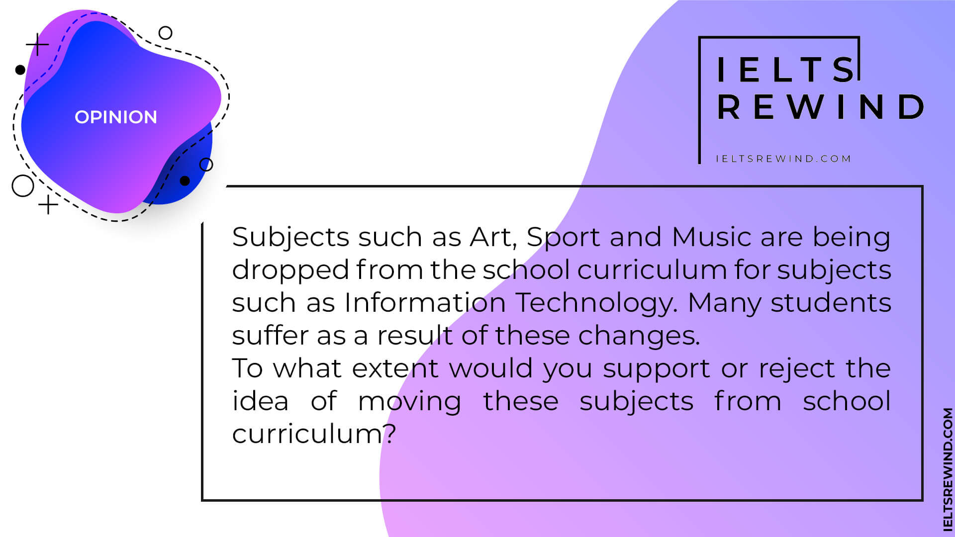 Art Sport and Music are being dropped from the school curriculum