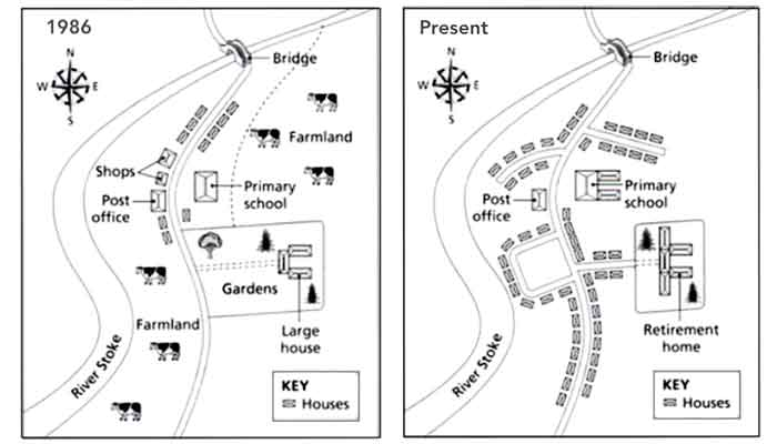Two maps below show the changes in the town of Denham from 1986 to the present day